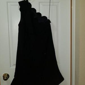 Victoria beckham target black bow ruffle dress